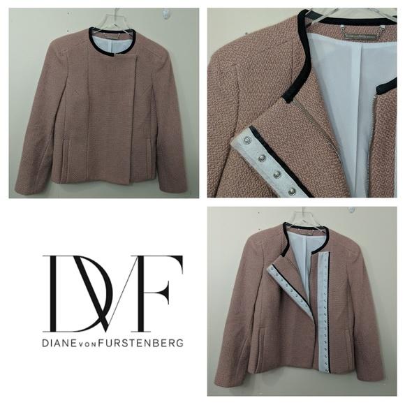 Diane von Furstenberg Jackets & Blazers - DVF | Pink Wool Lined Cropped Bomber Jacket
